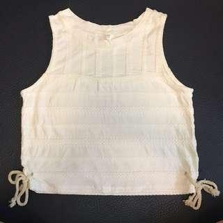 白色綿麻背心 white sleeveless