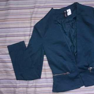 H&M good as new turquoise blazer with pockets no buttons