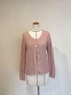 🚚 日本製貝殼釦粉色針織衫