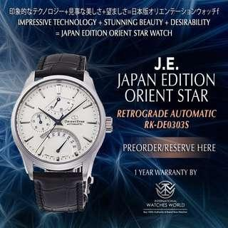 🚚 ORIENT STAR JAPAN EDITION RETROGRADE AUTOMATIC POWER RESERVE LEATHER STRAP WHITE DIAL RK-DE0303S