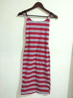Stripe Dress / Midi Dress / Cotton Dress / Bodycon Dress