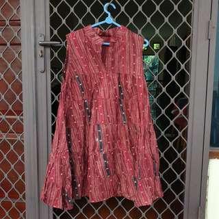 [FREE ONG] Dress batik merah maroon