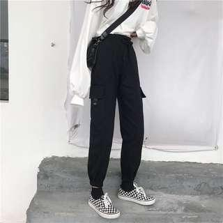🚚 INSTOCKS Cargo pocket high waisted pants trousers - black