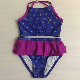 👙KBLU👙 Girls' Navy Blue Pink Swimming Costume/ Swimsuit/ Swimwear/ Bikini 2 Piece Set (Size: S)