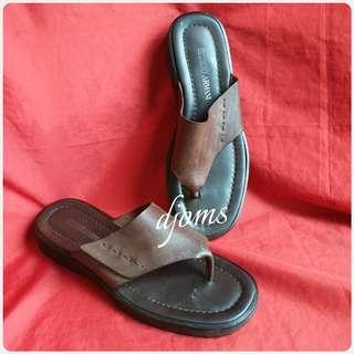 🛑Sz 10 43 Giorgio Armani Leather Platform Thong Slippers Sandals