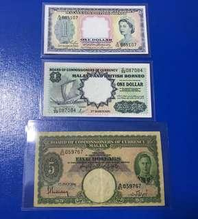 MBB  $1 and Malaya currency $5