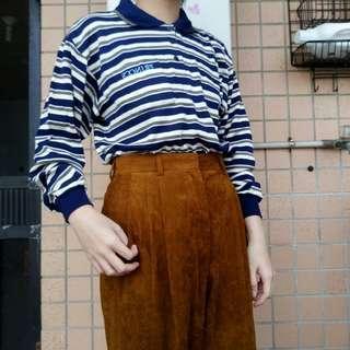 🚚 明日古著二手選物香港製藍綠白條紋長袖棉質polo衫110