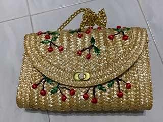Brand New cherry straw bag