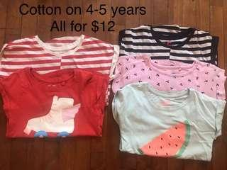 🚚 Cotton on bundle of tshirts for girls 4-5 years