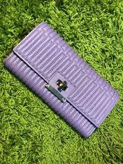 🚚 [全新品]紫色仿真皮柔軟長夾 夾層多 春款長夾 現貨一組