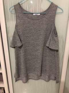 Grey flutter sleeve top