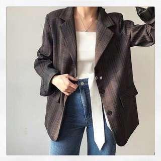 韓國東大門拼色西裝外套 附腰帶