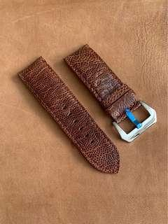 🚚 Dark Brown Ostrich Leg Watch Strap 26mm@lug/26mm@buckle