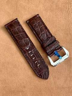 🚚 Dark Brown Crocodile Alligator Watch Strap (special tile scales) 26mm@lug/26mm@buckle