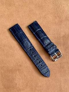 🚚 Dark Blue Crocodile Alligator Watch Strap (special tile grains) 20mm@lug/18mm@buckle