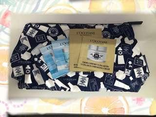Loccitane make up pouch with 4 sample