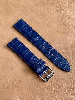 🚚 Dark Blue Crocodile Alligator Watch Strap (very unique ridges grains) 20mm@lug/18mm@buckle