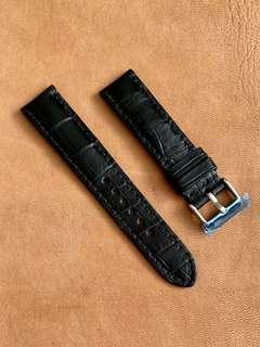 🚚 Black Crocodile Alligator Watch Strap 20mm@lug/18mm@buckle
