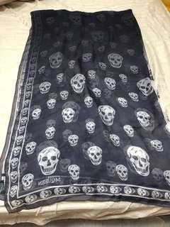 Alexander McQueen  authentic skull scarf gradient color black to white