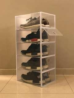 Clear adidas nmd ultra boost shoebox shoerack stackbox Christmas promotion