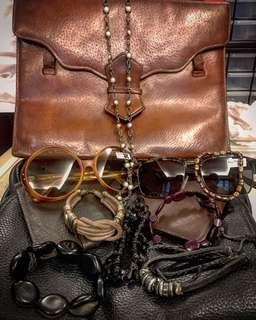 Vintage 1960s JL France Brown Lucite Frame Sunglasses