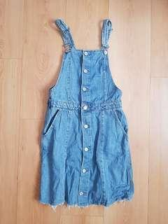 Zara Trafaluc Pinafore Overalls Denim Dress