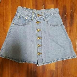 🚚 button down Denim Skirt