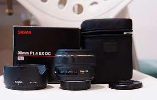 90% new Sigma 30mm F1.4 EX DC HSM (Nikon)