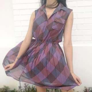 🚚 Vintage Purple Check Dress