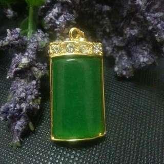 [UNISEX] 绿玉髓吊坠 (镀金框架) Green Chalcedony Pendant (Gold Plated Frame)