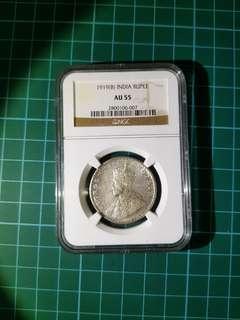 Ngc au55 india 1919 one rupee