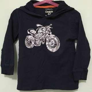 🏍OSHKOSH BGOSH🏍 Authentic Boys' Long Sleeve Motorbike Navy Blue T-Shirt/ Top With Hood (Size: 4T)