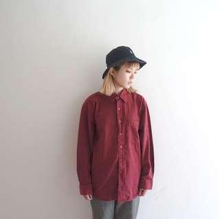 🚚 暗紅色棉質襯衫🔥賣場商品任選兩件9折 三件85折🔥
