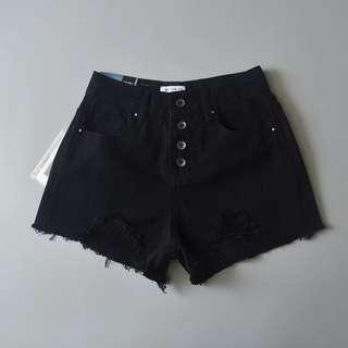 🚚 bnwt black ripped button down shorts