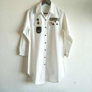 White Patches Long Dress Shirt Top