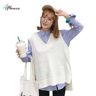 🚚 白色 米色 毛衣背心 針織 短版背心v領 前短後長