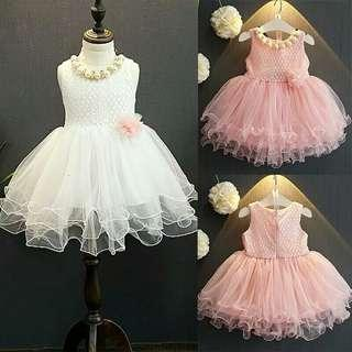 🚚 Princess Kids Girls Formal Wedding Dress Infant Girls Pink&White Lace Flower Party Dresses Ball Gown Tulle Tutu Dress