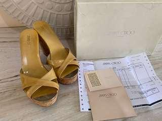 JIMMY CHOO Wedges 10cm nude patent size 37,5
