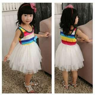 🚚 Baby Girl Dresses Princess Kids Clothes Girls Tulle Chiffon Dress for Toddler Girls Clothing Bow Striped
