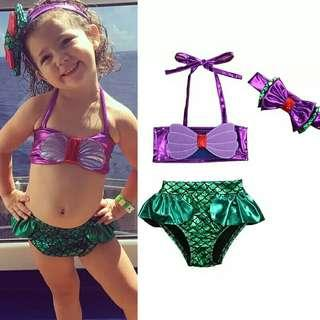 🚚 Sets New Summer Lovely Casual Kids Baby Girls Swimsuit 3PCS Swimwear Sleeveless Belt Vest+Shorts+Headband Bathing Suit Outfit 0-8Y