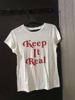 White T-Shirt Red Letter