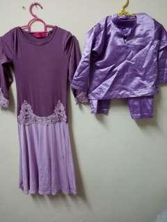 set jubah purple 3years  + baju melayu 2years purple