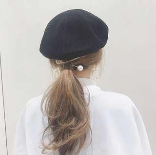 🚚 日本Lettice黑色棉麻復古貝雷帽 畫家帽 日貨