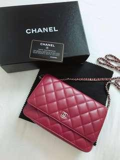 Chanel Wallet On Chain❤️100%Real❤️99%New❤️Red Lambskin❤️Full Set❤️