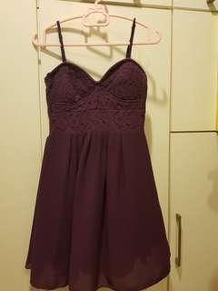 Kitschen Bustier Dress in Dark Purple