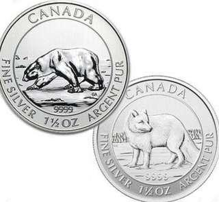 加拿大北極熊+雪狐 1.5 安士銀幤 Canadian Polar Bear + Arctic Fox 1.5 oz Silver Coin