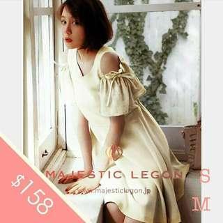 MJ福利款第二擊!!日本Majestic Legon 細碼 中碼 修身 淺米白色 春夏 lace 小飛袖 雪紡 連身裙