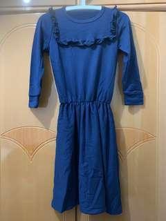 深藍束腰連身裙