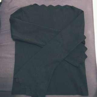 🚚 波浪領 薄針織上衣  #半價衣服市集