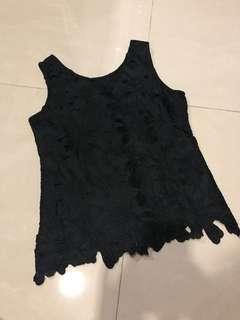 🚚 VRG Black Lace Cut Out Top